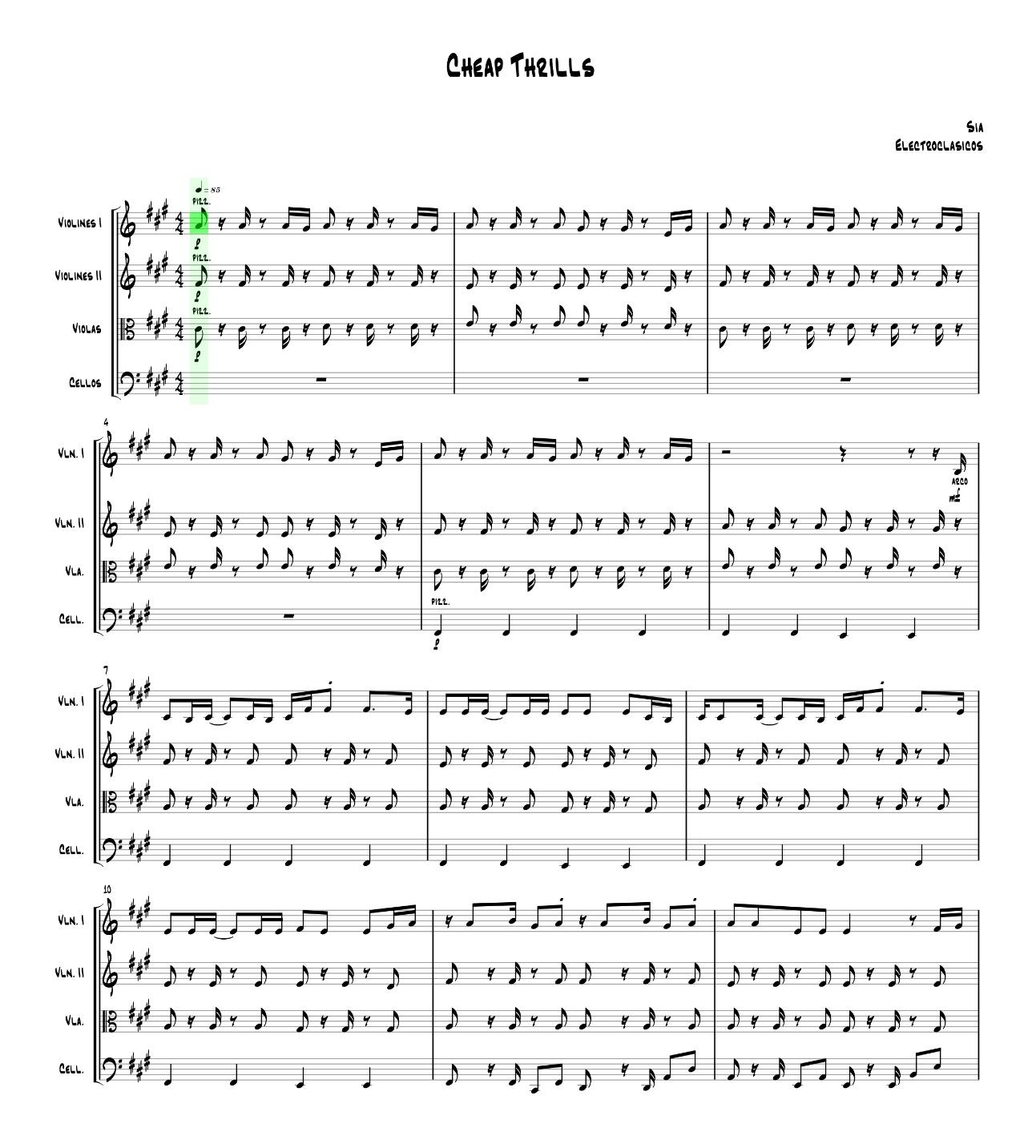 Sheet Music String Quartet Cheap Thrills, Sia