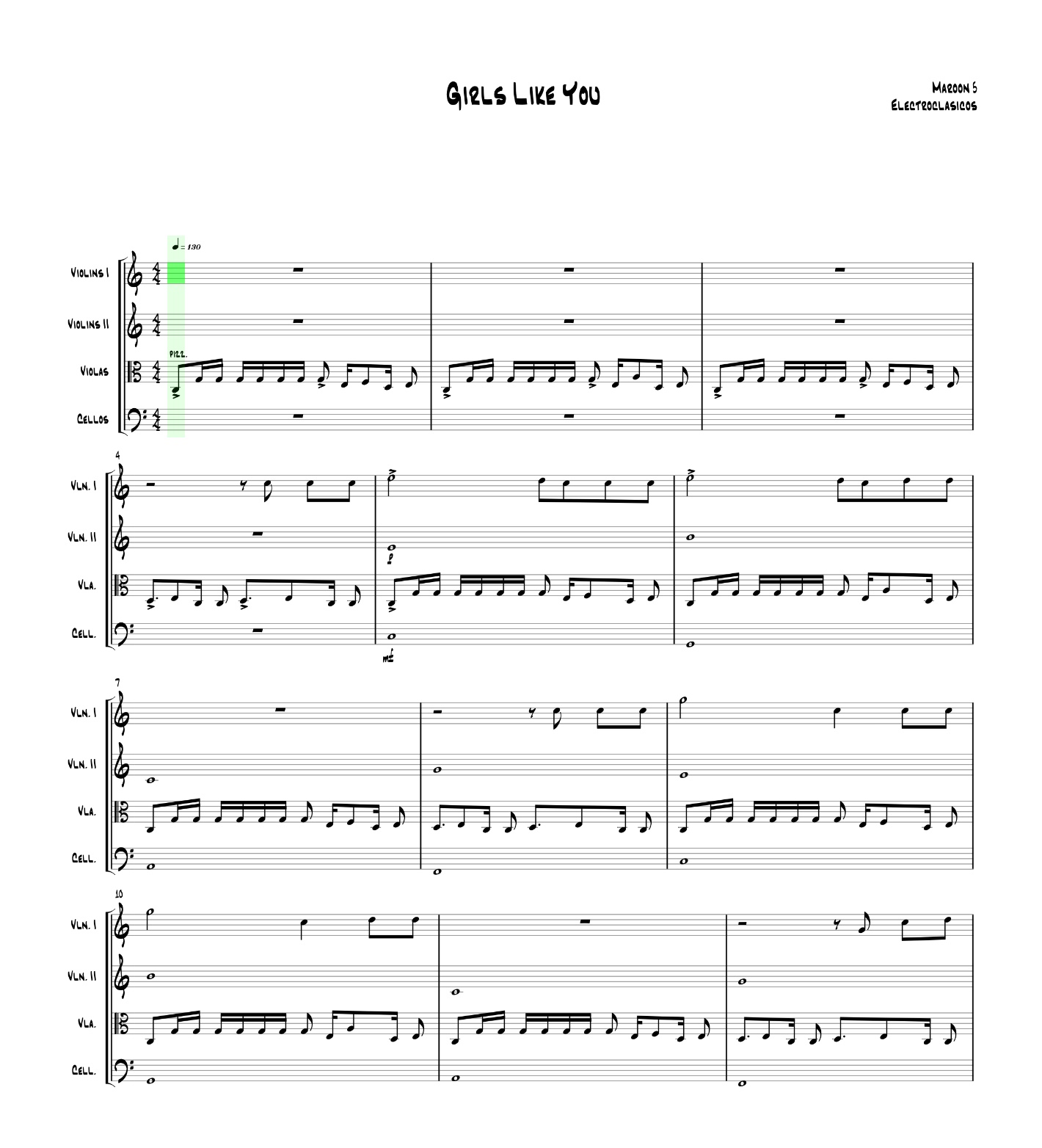 Sheet Music String Quartet Girls Like You, Maroon 5