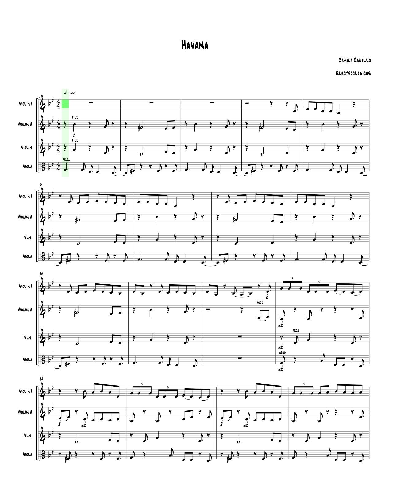 Sheet Music String Quartet Havana, Camila Cabello