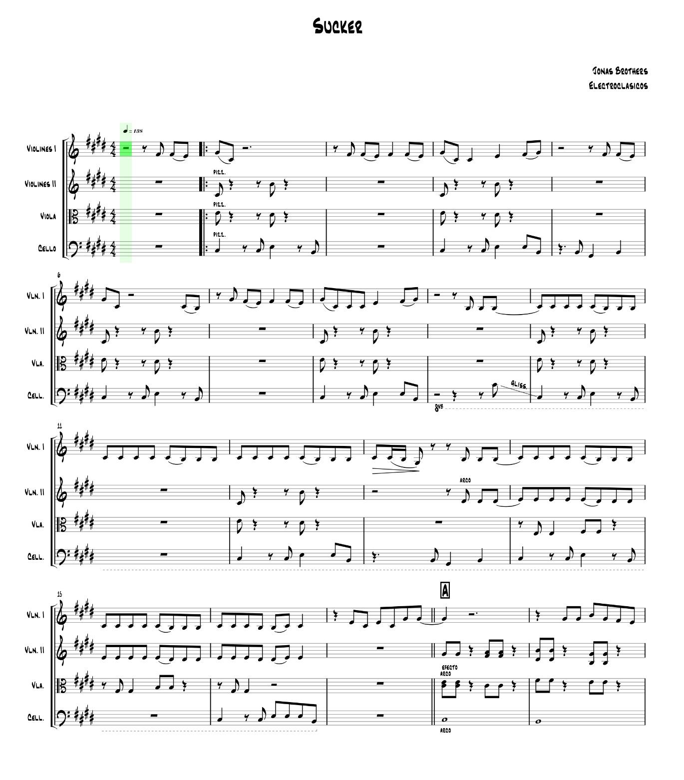 Sheet Music String Quartet Sucker, Jonas Brothers