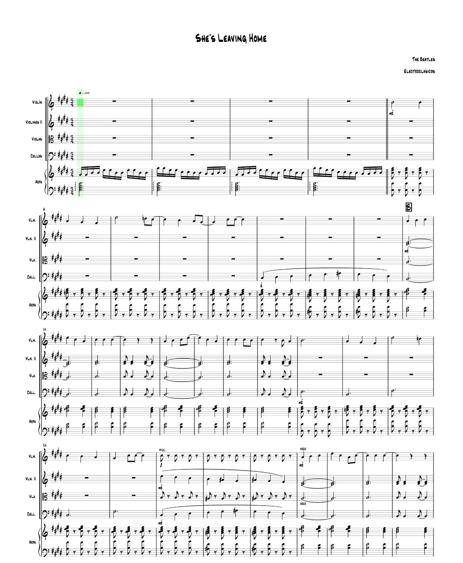 Sheet Music String Quartet She's Leaving Home, The Beatles