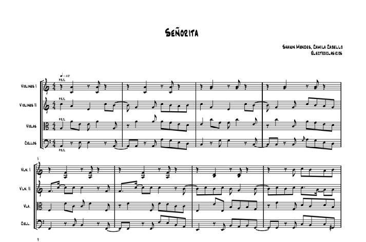Sheet Music String Quartet, Señorita Camila Cabello y Shawn Mendes