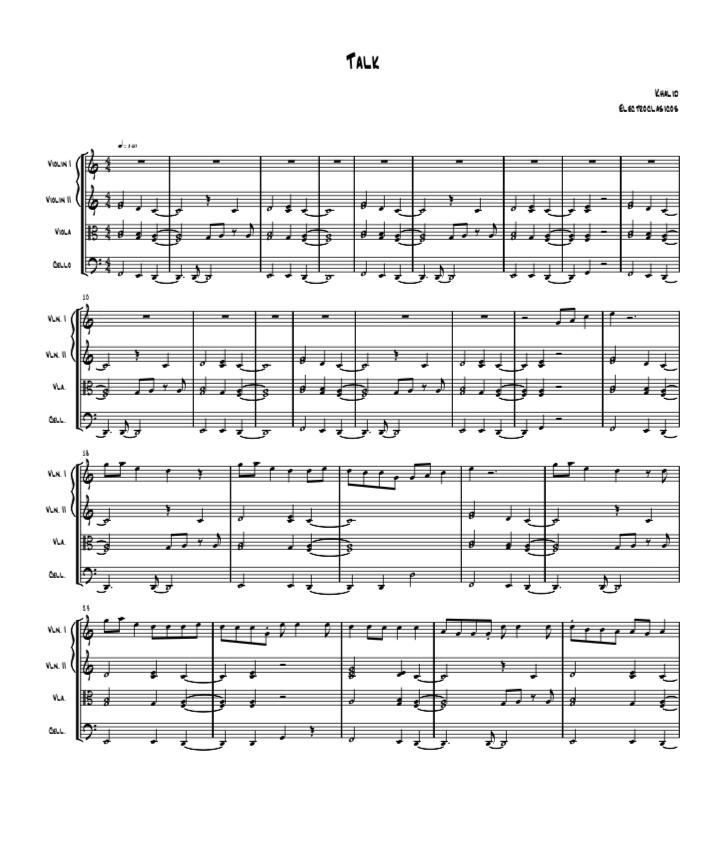 Sheet Music String Quartet, Talk by Khalid