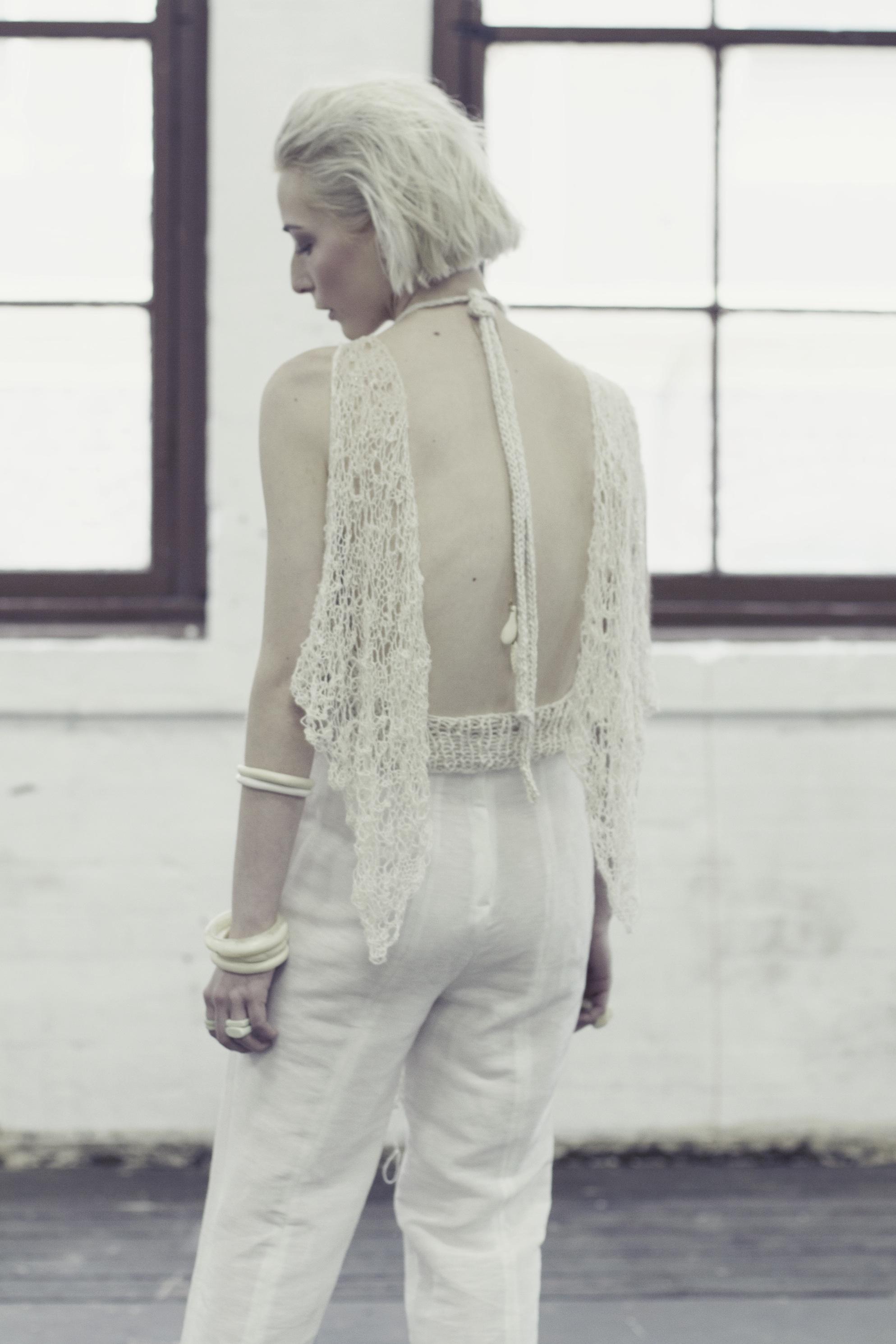 Lace Knit Top, Knit Cami & Silk Pants
