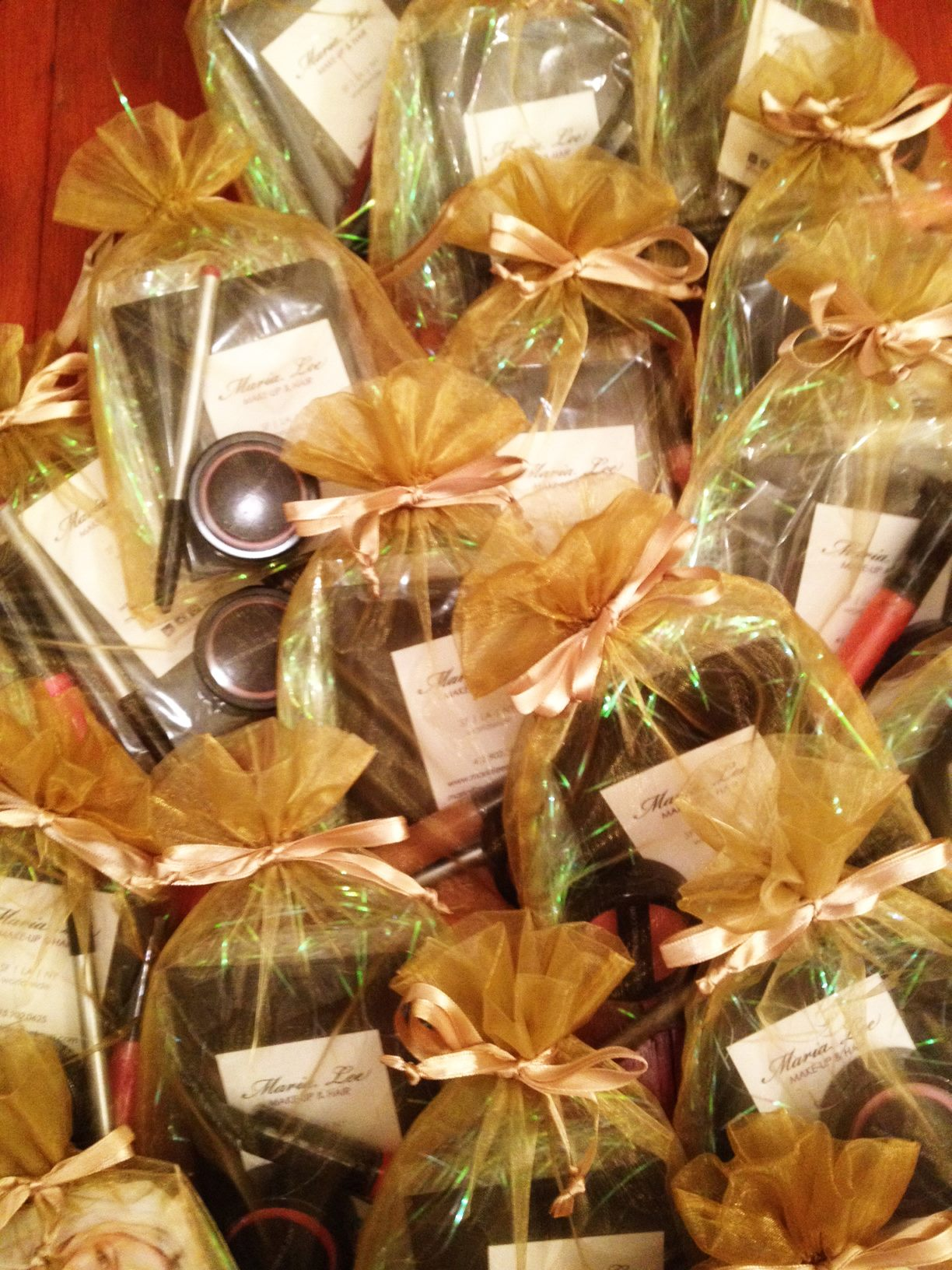 Gift bags my assistant Jessica and I put together. Each bag contained some of my favorite products to use in my studio! I selected an assortment of lip liners, cream blushes and lipsticks in various colors.