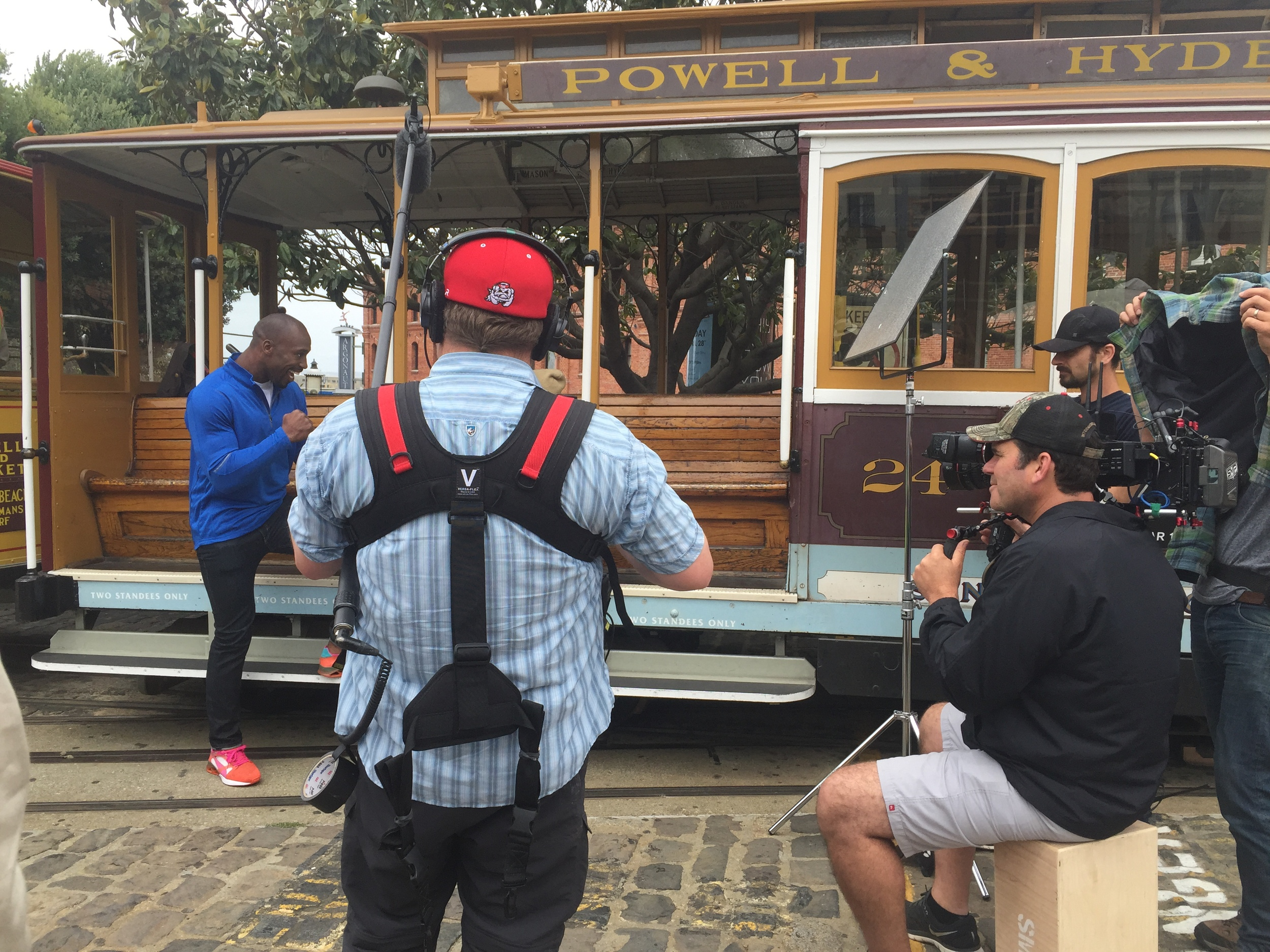 Filming on a cable car