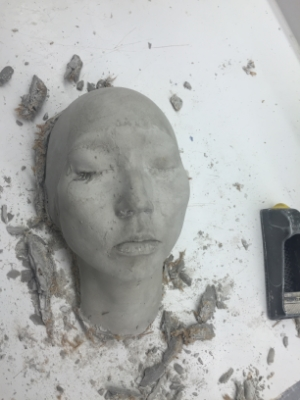 The silicone mold is filled with cement to make a positive stone. RIP lashes :( More castor oil should have been applied!