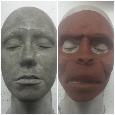 My partner's positive stone mold (left) and the monkey I started sculpting on top of it (right).