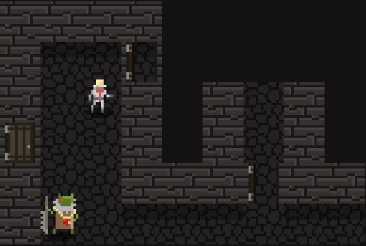 PC and a baddie in a Dimensional Wayfarer medieval dungeon.