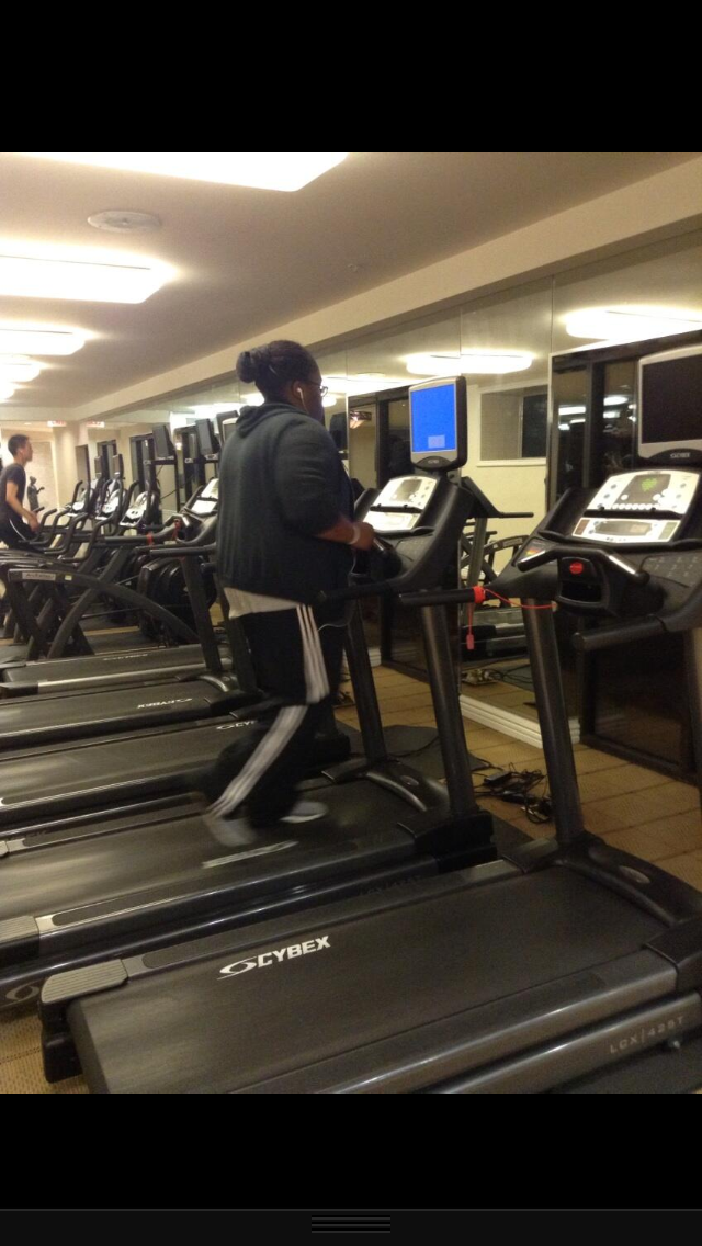 Listening to The Read while doing my late night workout.   Jane A. Los Angeles, California, USA