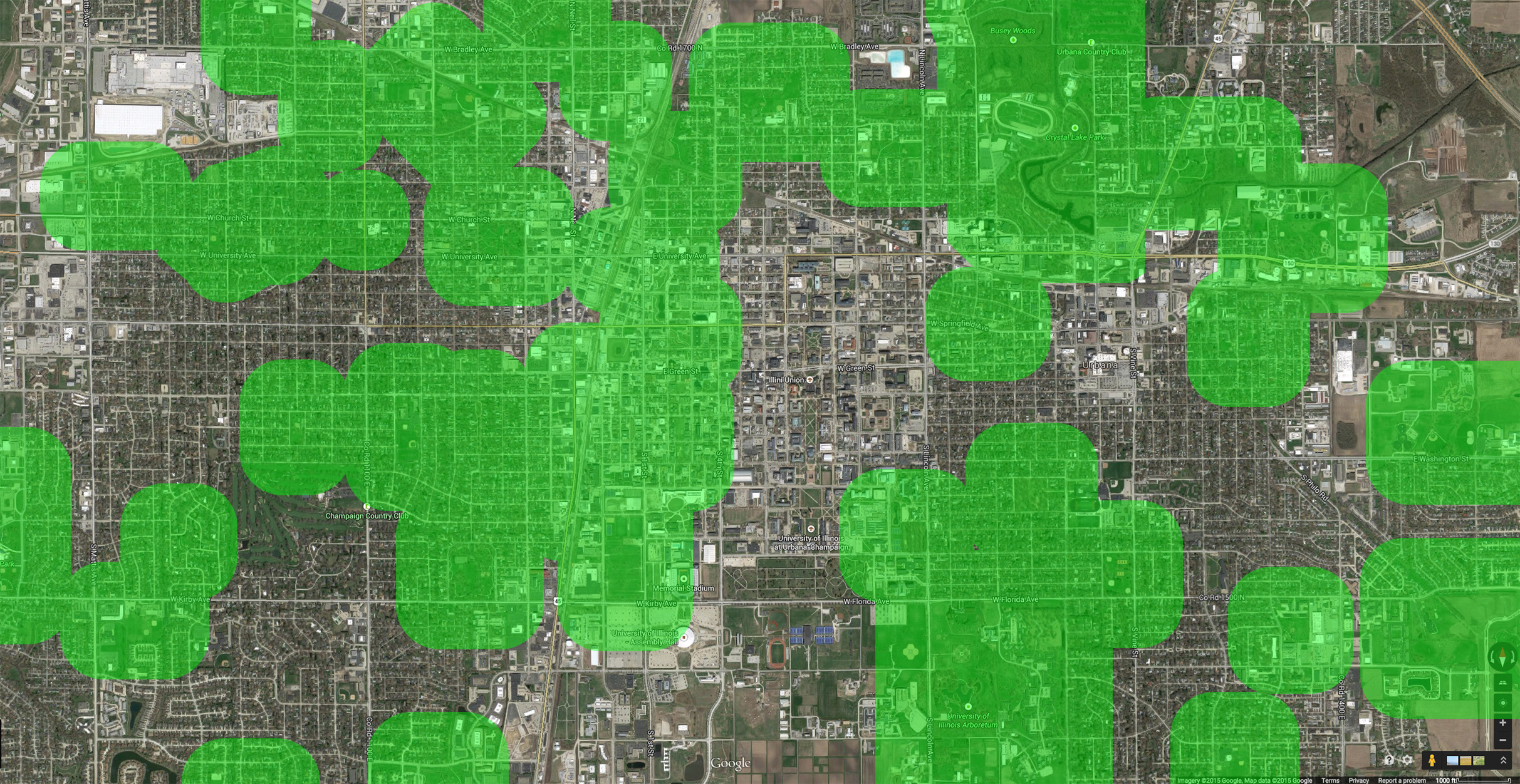 Areas within 1,000 feet of public parks