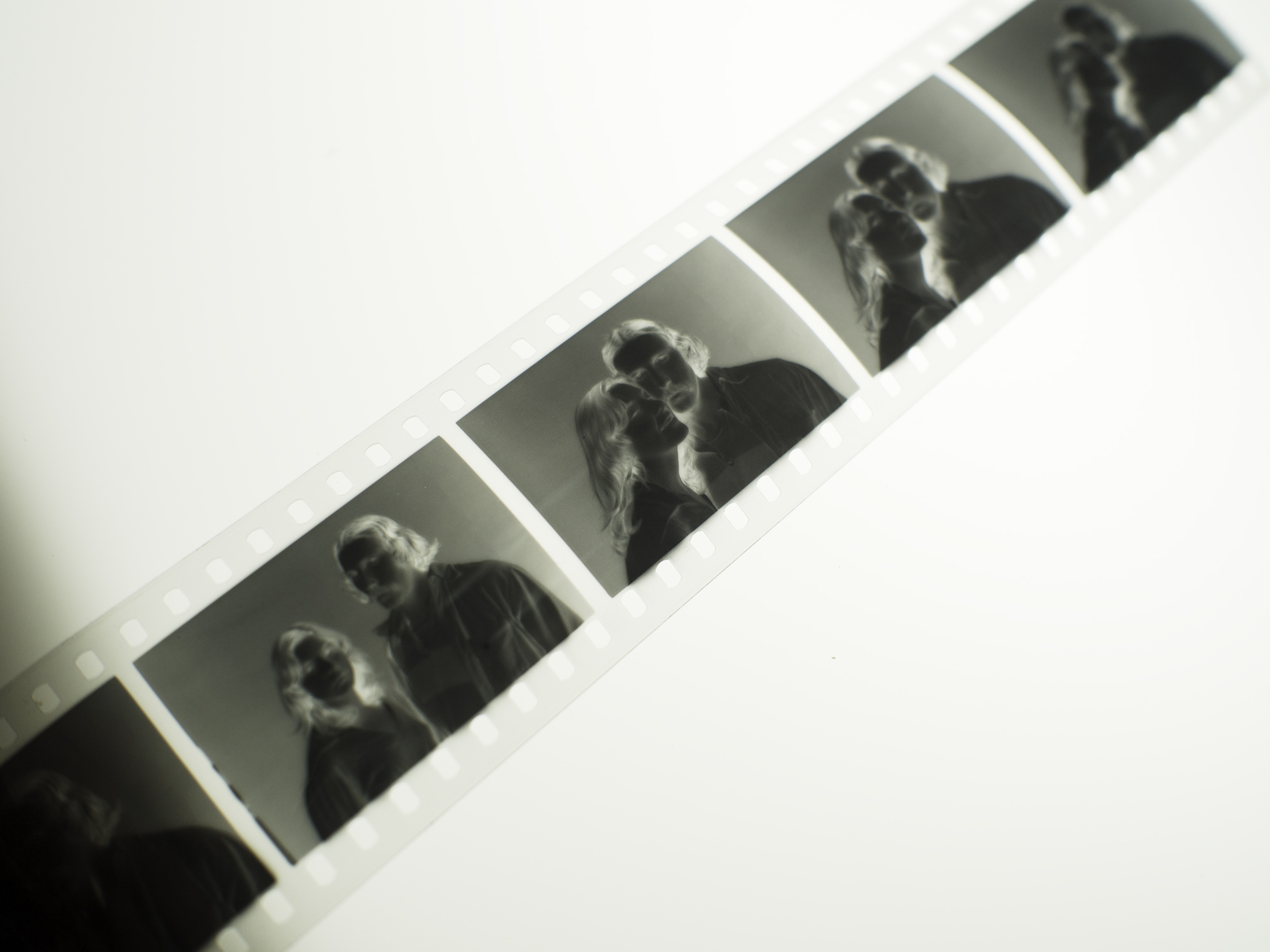 Negatives on the light table.