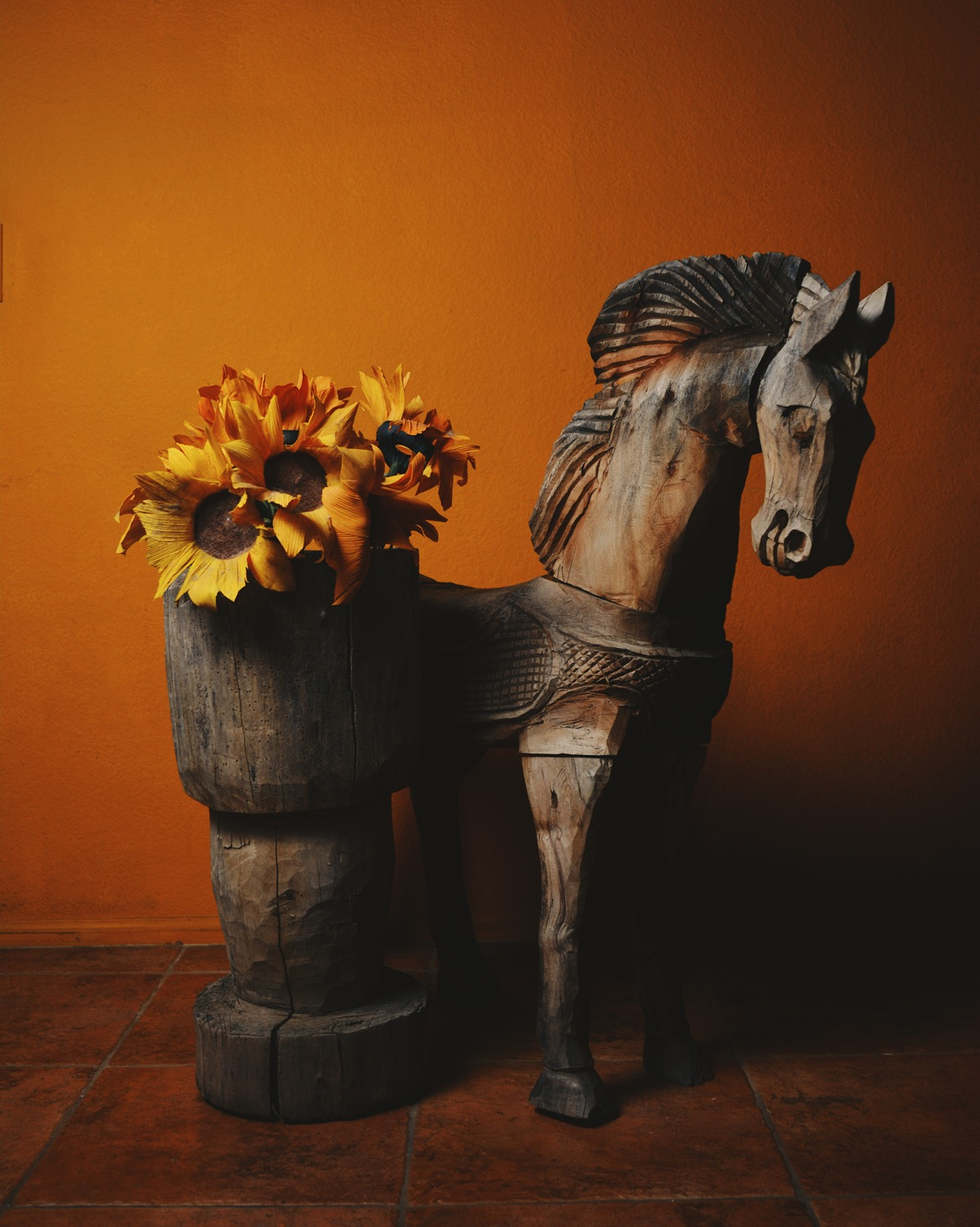 Hand carved wooden horse and antique mortar from The Salvage Co.jpg