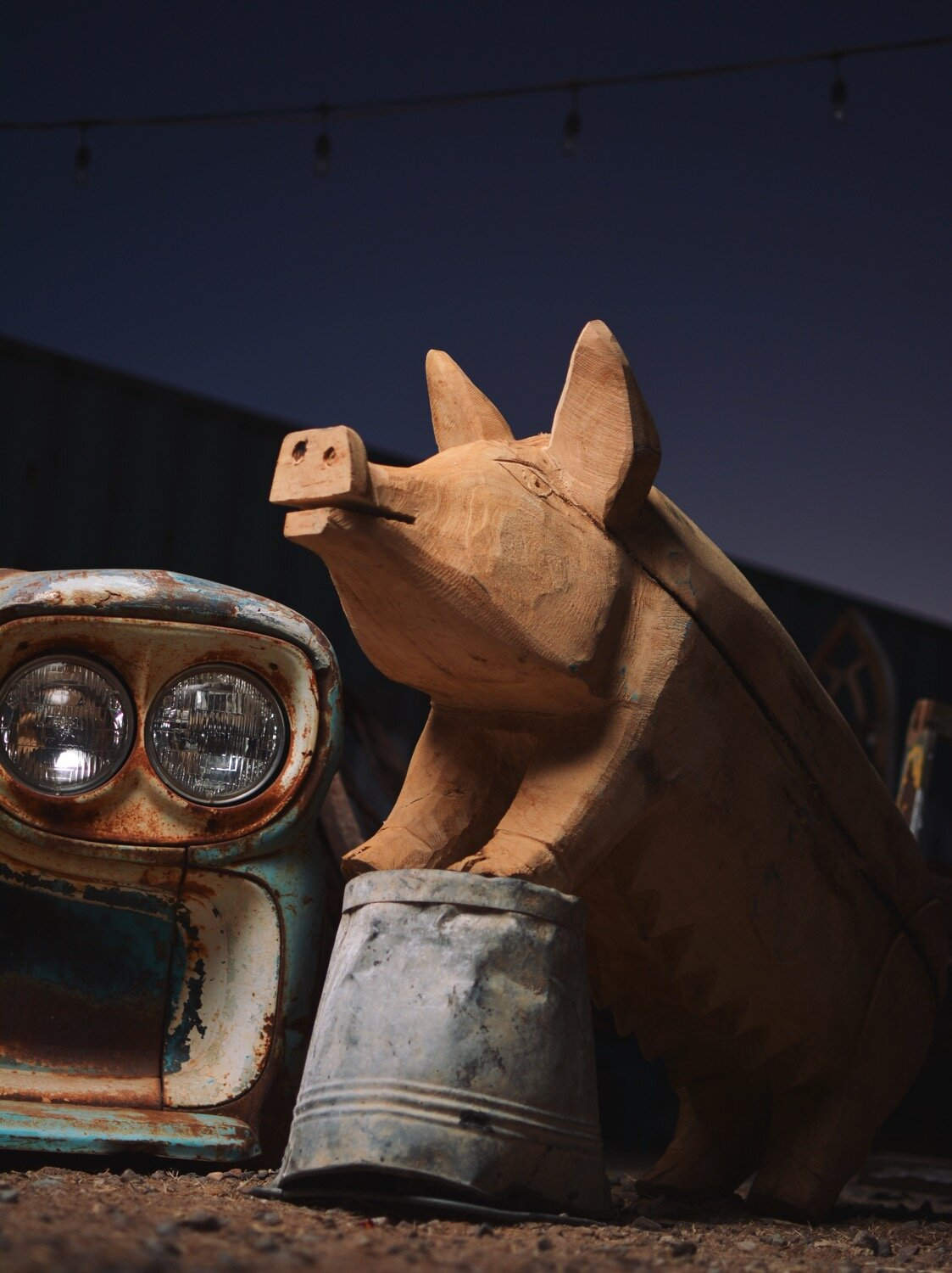 Rustic Hand Carved Wooden Pig