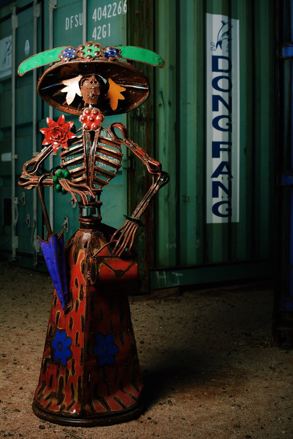 Rustic and Colorful Metal Catrina Doll