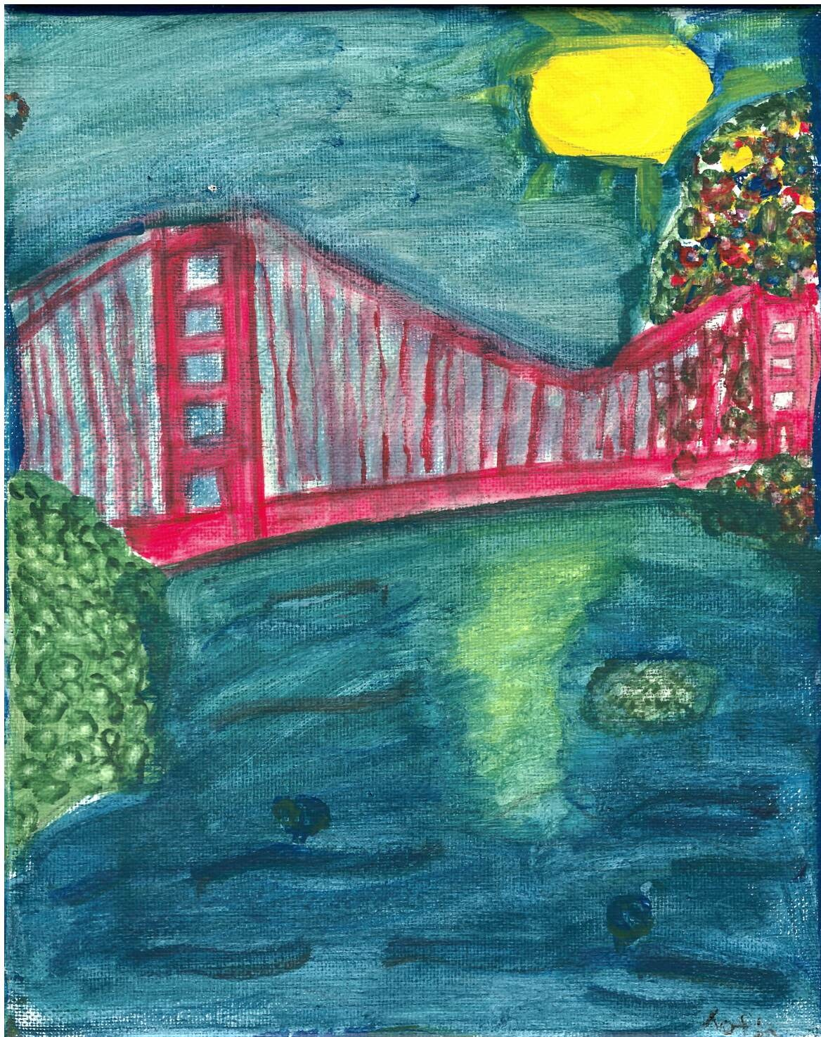 Sofia C., Age 12, receives an honorable mention for her work 'The Golden Gate', done on canvas.