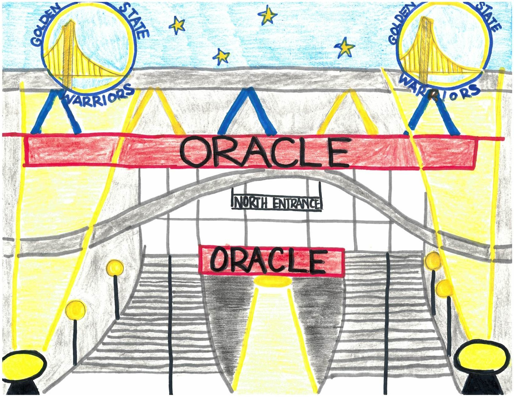 Jayla W., age 10, receives an honorable mention for 'The Oracle Arena' which she picked because of the good times she has had there with her family and how pretty the building is at night when the blue and yellow lights come off of the building