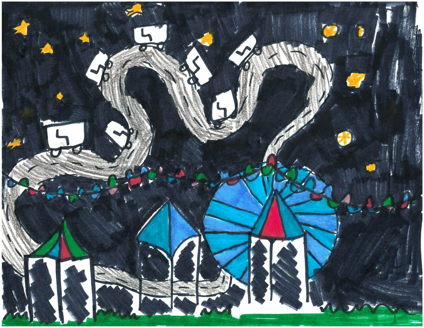 Kiana M., Age 8, gets an honortable mention for 'The Big Carnival', showing the carnival she goes to every summer at the Alameda County Fair where she has a lot of fun with her family.