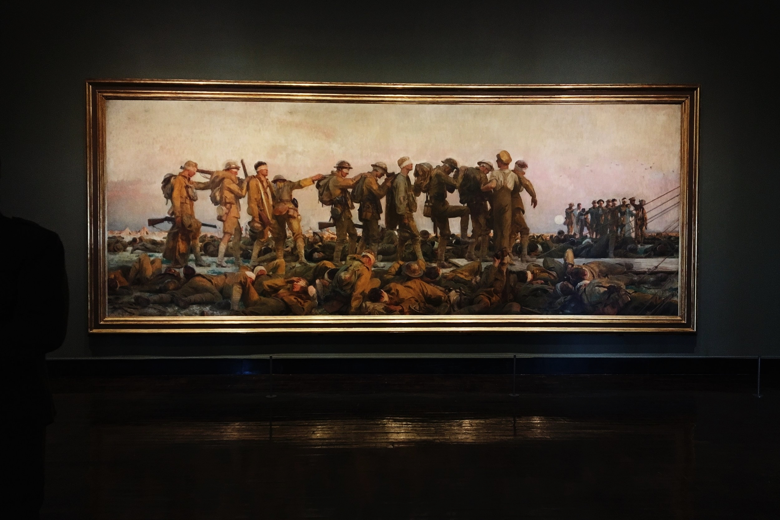 John Singer Sargent,  Gassed , 1919, oil on canvas, Imperial War Museums, London, as installed in  World War I and American Art  at Frist Center for the Visual Arts (photo: Author)