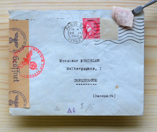 French mail was regularly inspected during the Nazi occupation. To avoid detection, simple messages such as times, dates and locations could be sent on the back of stamps, as shown here. Hélène couriered letters like this.