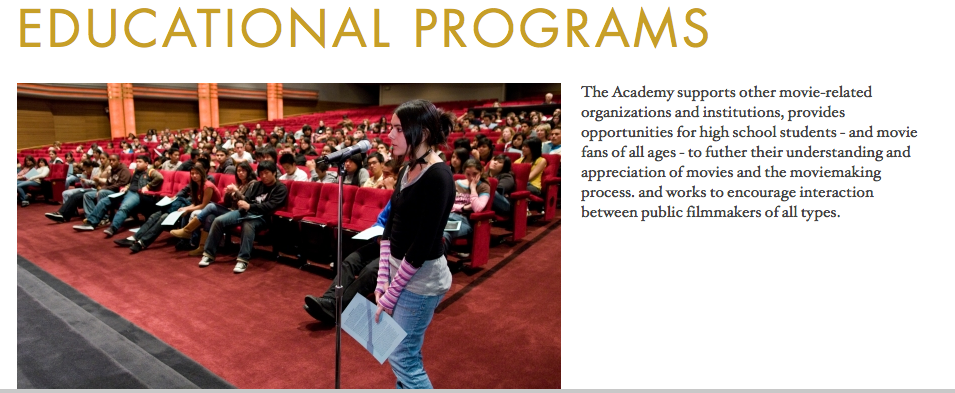 AMPAS educational programs web page