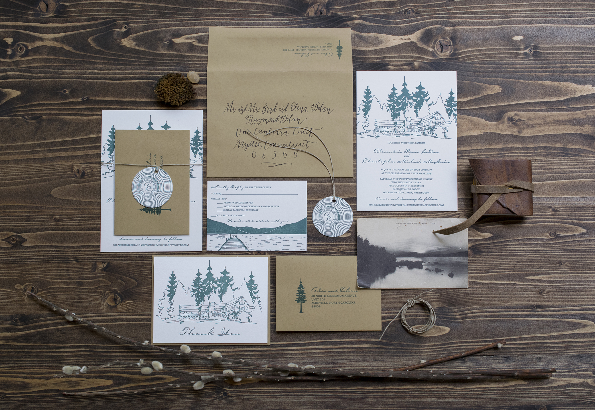 Alex & Chris: Letterpress Printed Invitation Suite with custom illustrations and calligraphy.