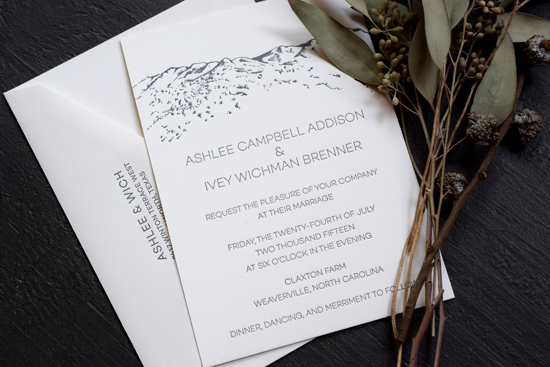 Ashlee & Wich: Letterpress Printed Wedding Invitation with custom mountain illustration.