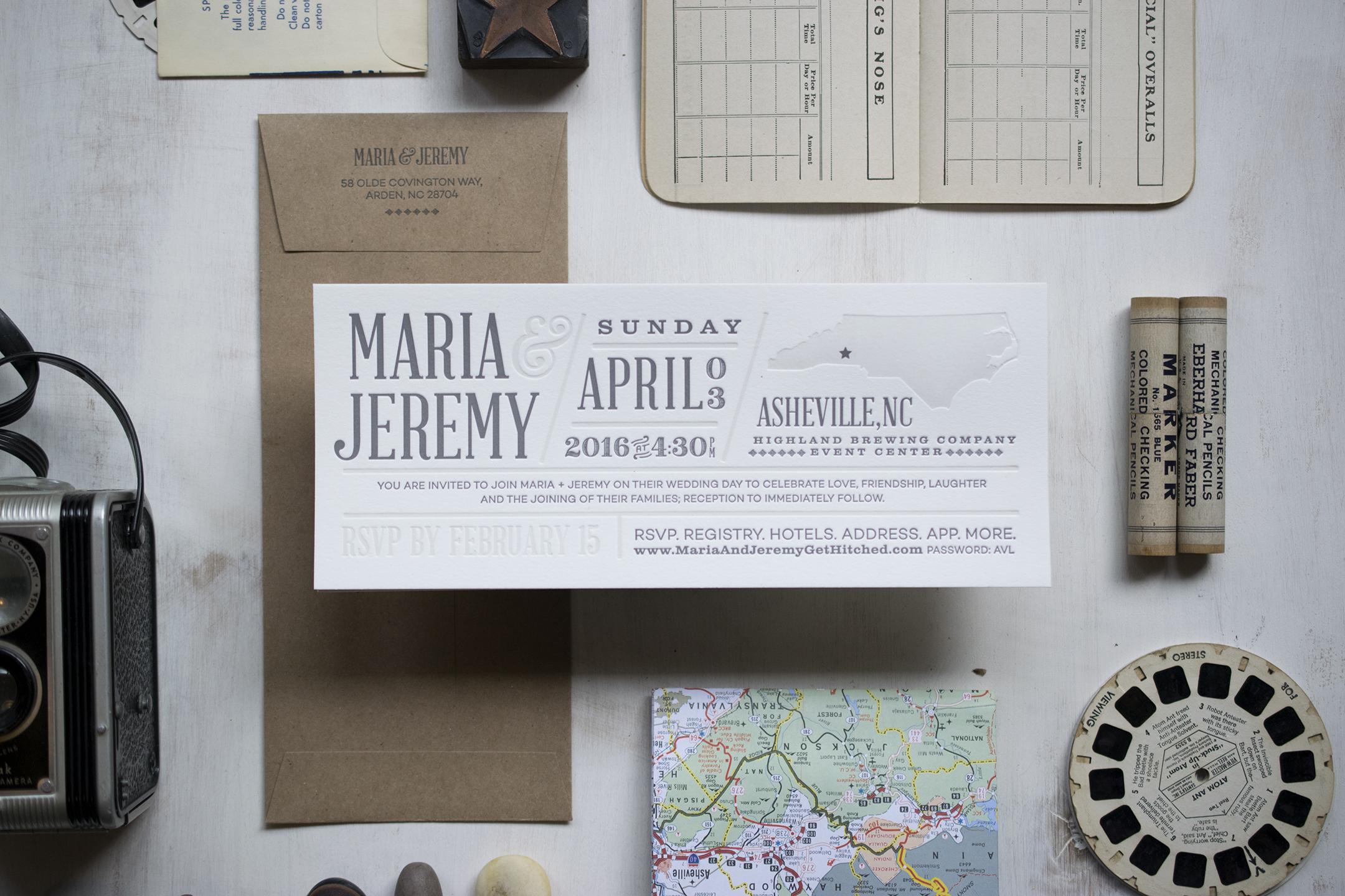 Maria & Jeremy: Letterpress printed wedding invitation. Designed at 7 Ton Co.