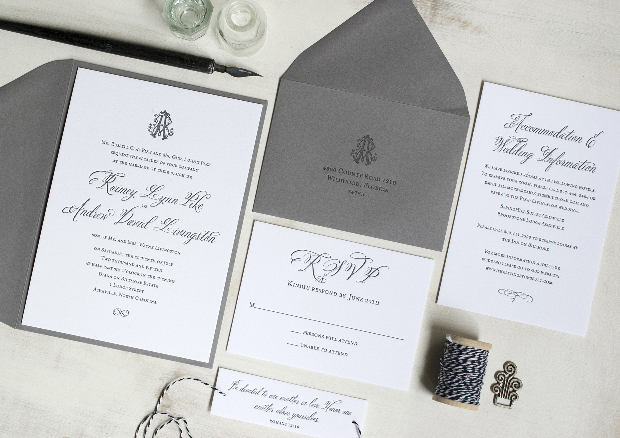 Raimey & Andrew: Letterpress printed wedding invitation suite. Designed at 7 Ton Co.