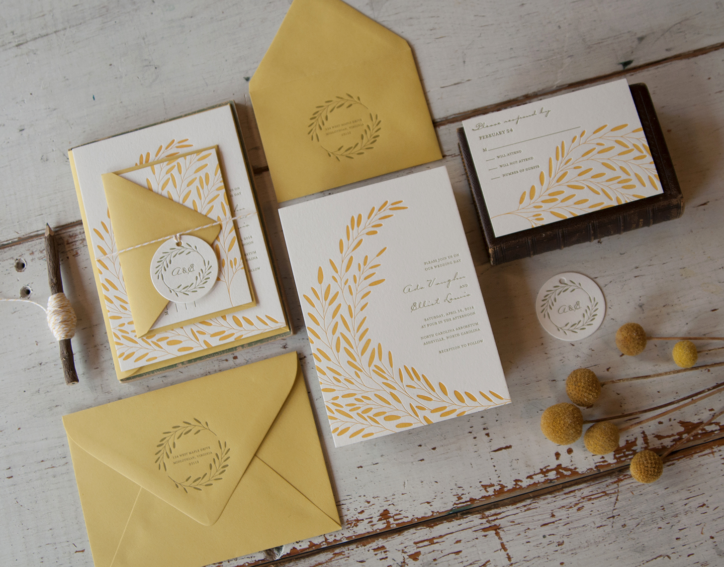 Ada & Elliot: Letterpress Printed invitation suite with custom illustration.