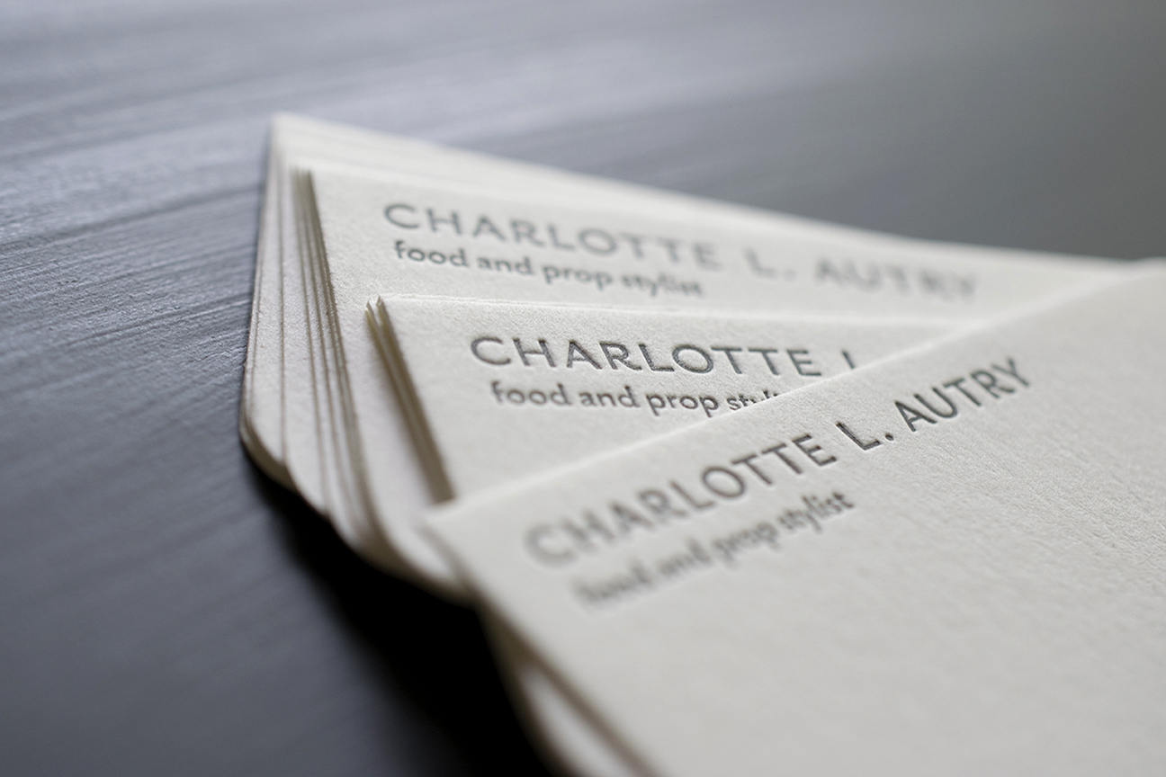 Custom Business Cards : Charlotte Autry : Letterpress Printed in one color with rounded accent corners.