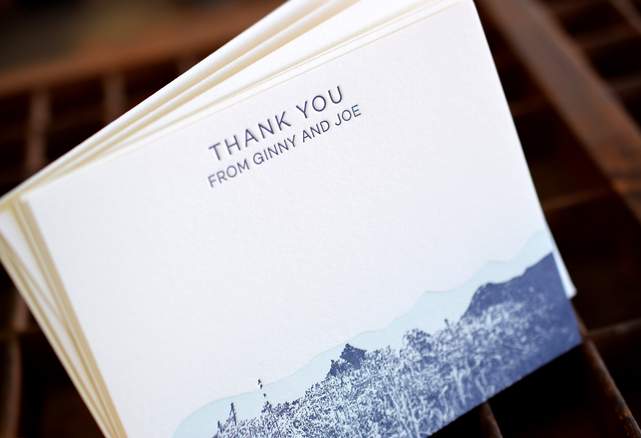 Thank You Stationery Set : Letterpress Printed in two colors with corresponding envelopes.