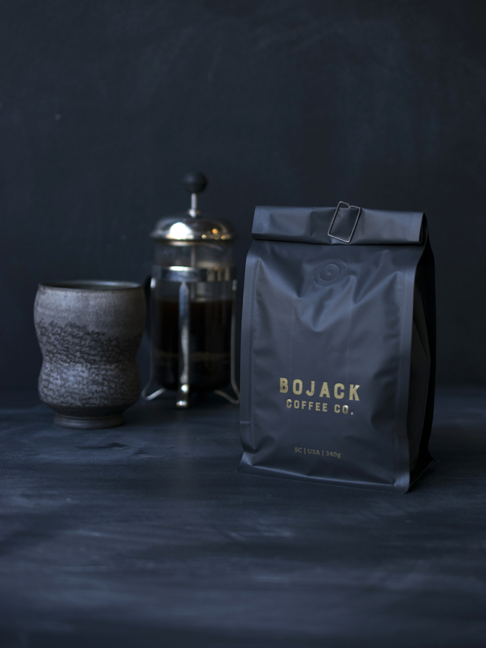 Bjoack Coffee Co. : Designed at 7 Ton Co. : Letterpress Printed in gold on matte black bags.