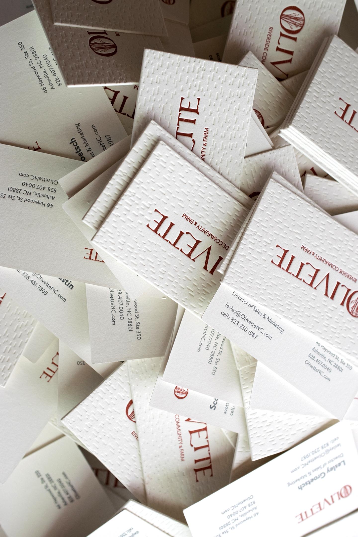 Olivette Business Cards : Design by  828 Design  : Letterpress Printed 2/2