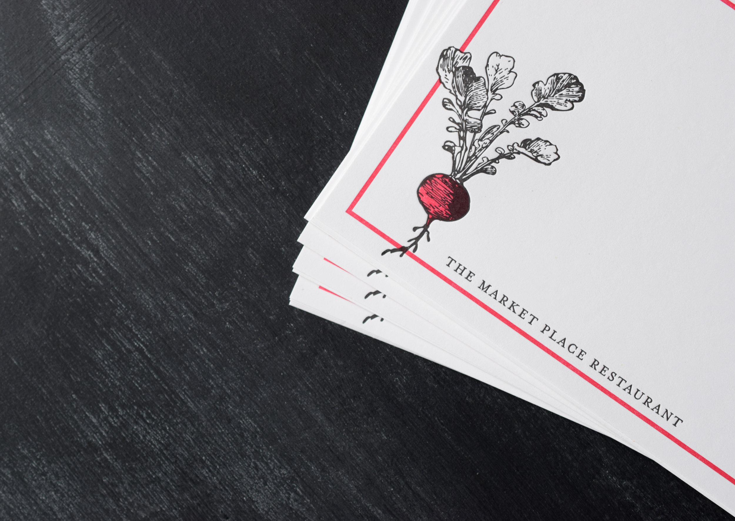 The Market Place Restaurant : Letterpress Printed Stationery : Two color with corresponding envelopes.