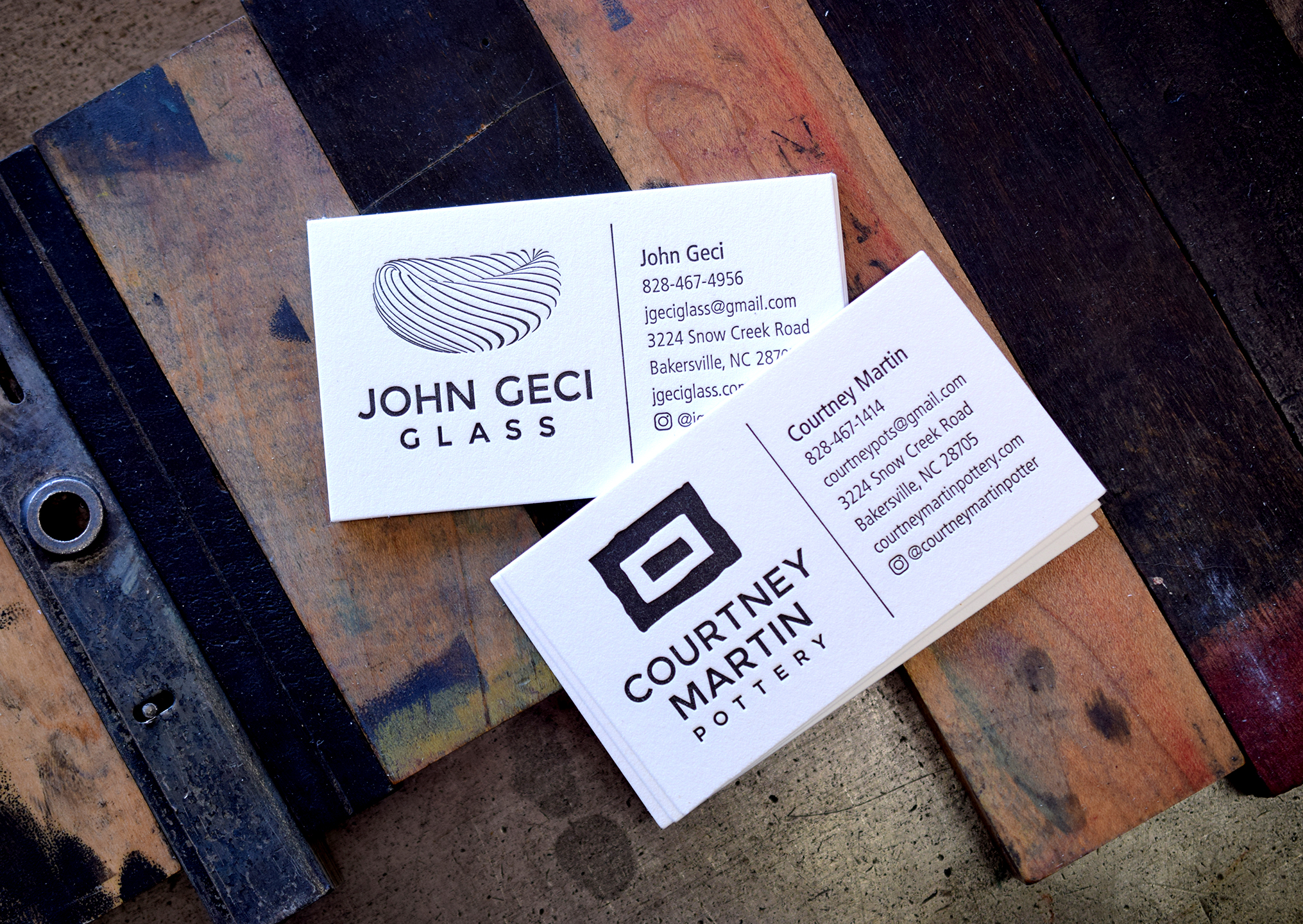 Courtney Martin Pottery & John Geci Glass Business Cards : Letterpress Printed : Design by ODDS and 7 Ton Co.