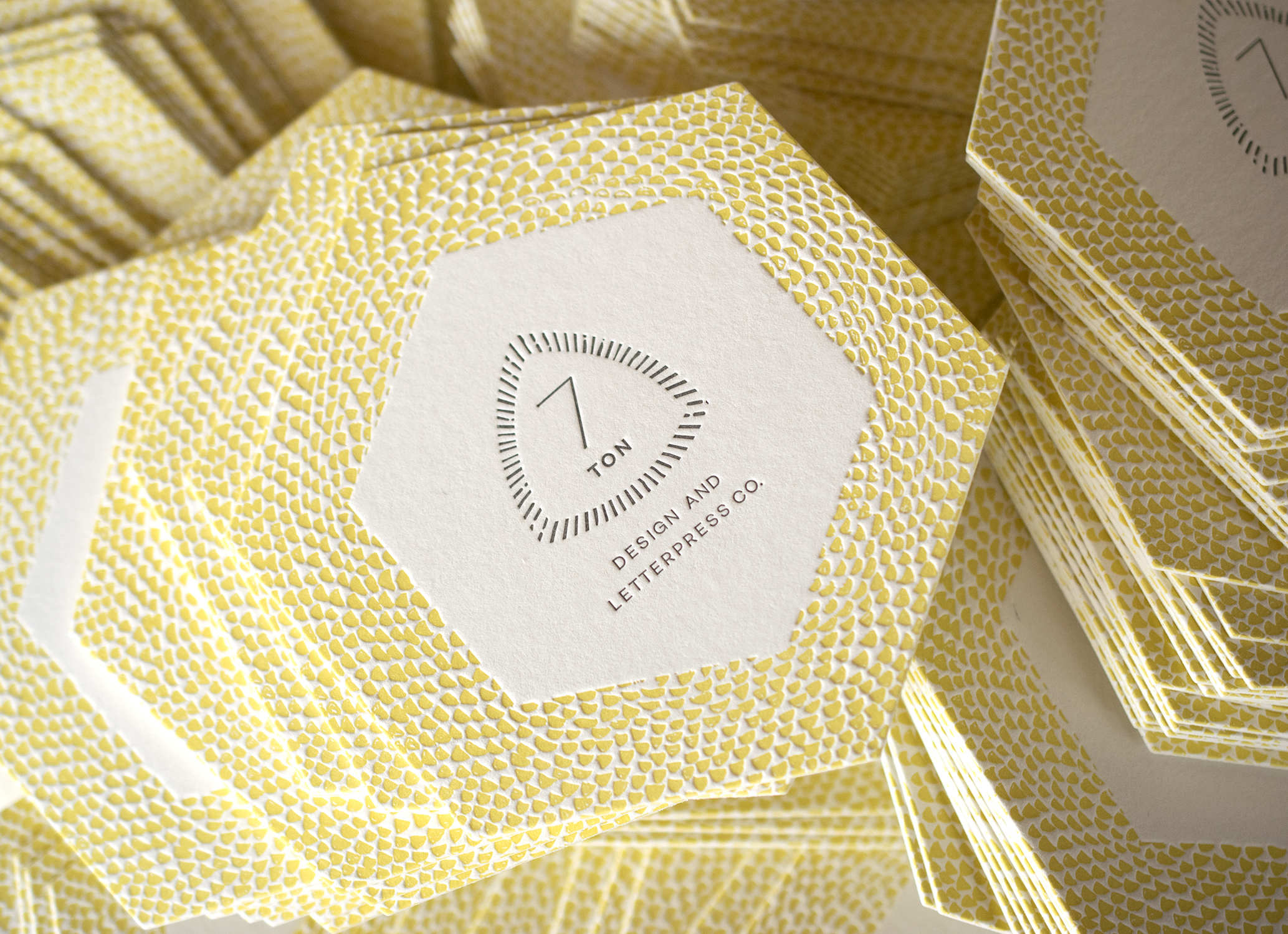 7 Ton Co. Business Cards : Letterpress printed in two colors on two sides and diecut.