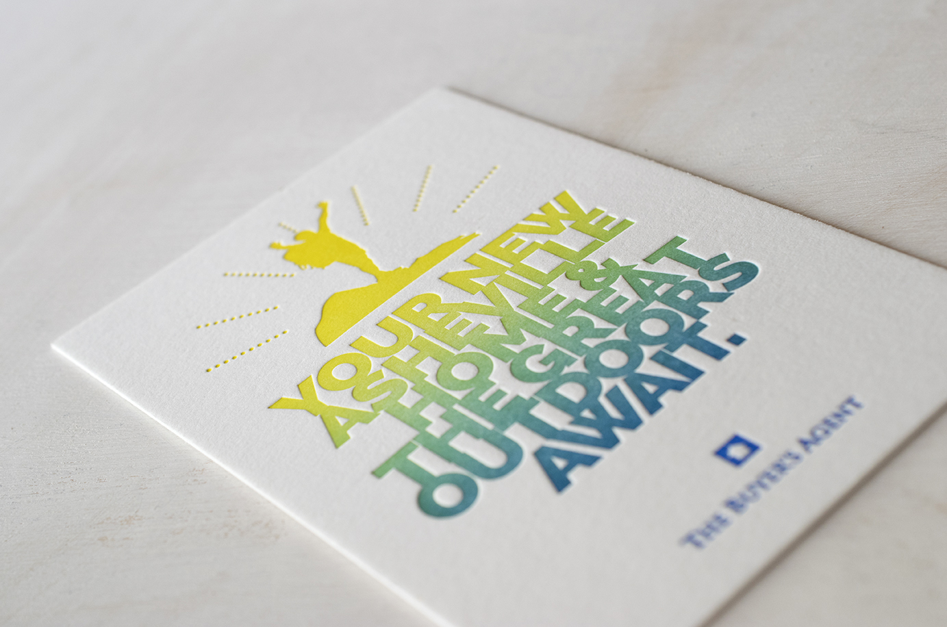 The Buyers Agent Postcards : Design by  828 Design  : Letterpress printed with a split fountain.