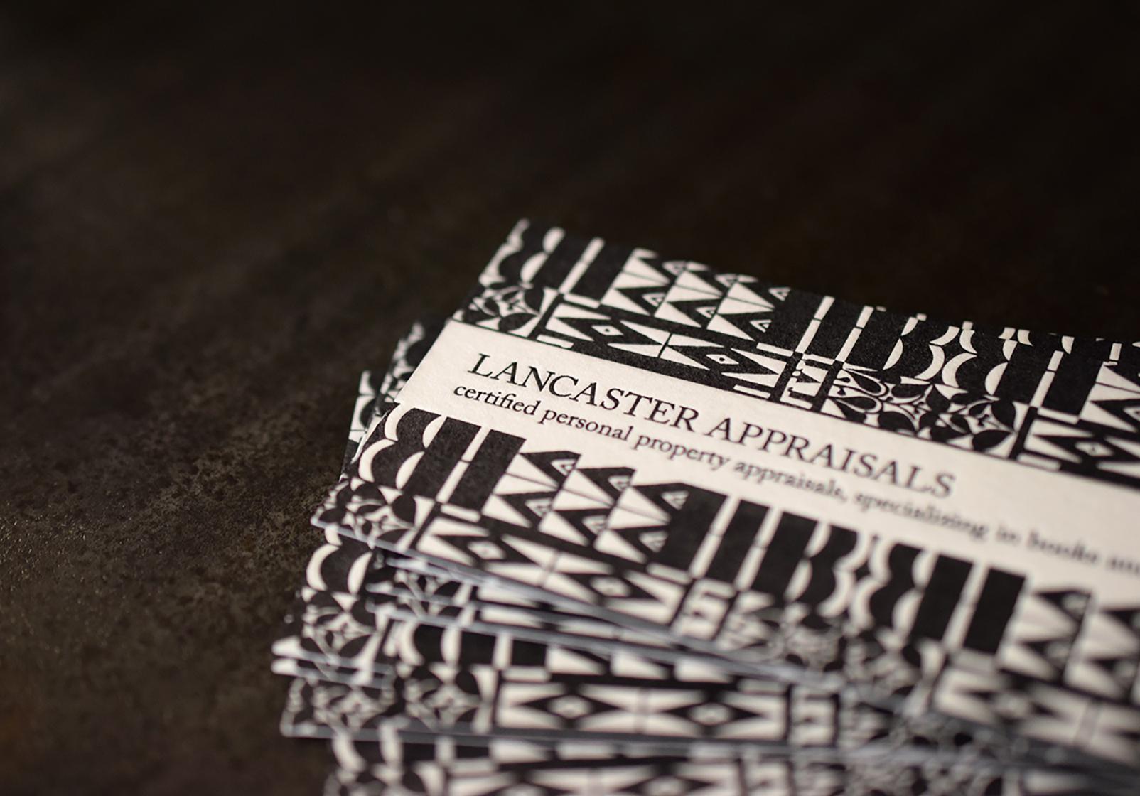 Lancaster Appraisals : Letterpress Printed on two sides.