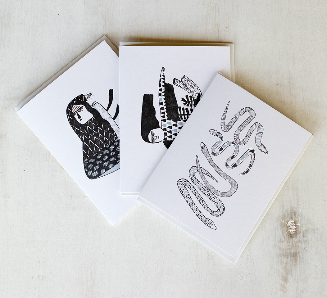 Kreh Mellick Stationery : Illustrations by Kreh Mellick : Letterpress Printed in two colors.