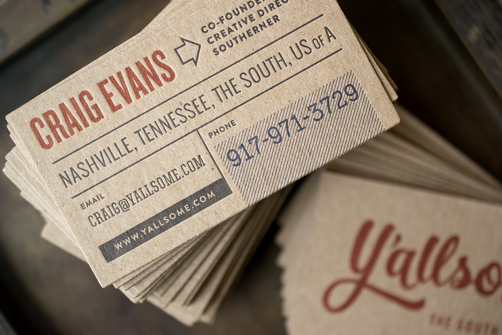 Y'allsome Business Cards : Design by  Y'allsome  : Letterpress Printed in two colors on two sides on recycled kraft.