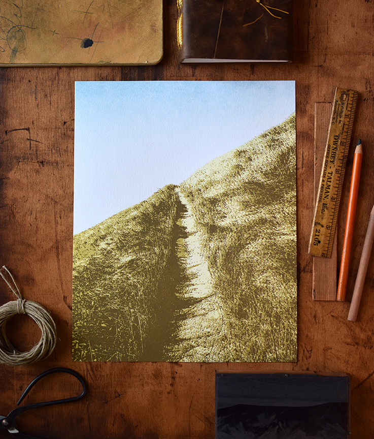 8x10 Mt. Tamalpais Print : Letterpress Printed