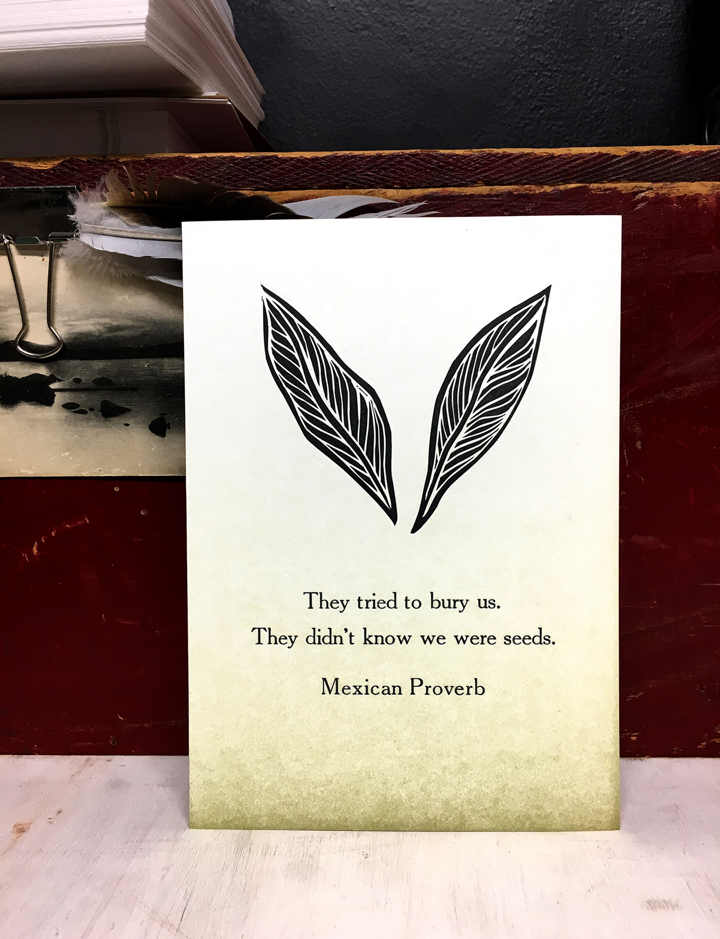 """5x7"""" Mexican Proverb :Letterpress Printed"""