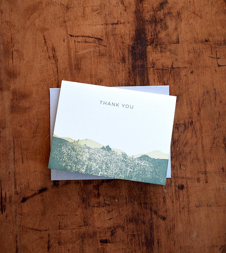 Thank You Mountain Notecard :Letterpress Printed