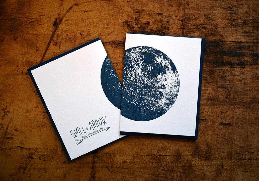 Moon Notecard :Letterpress Printed