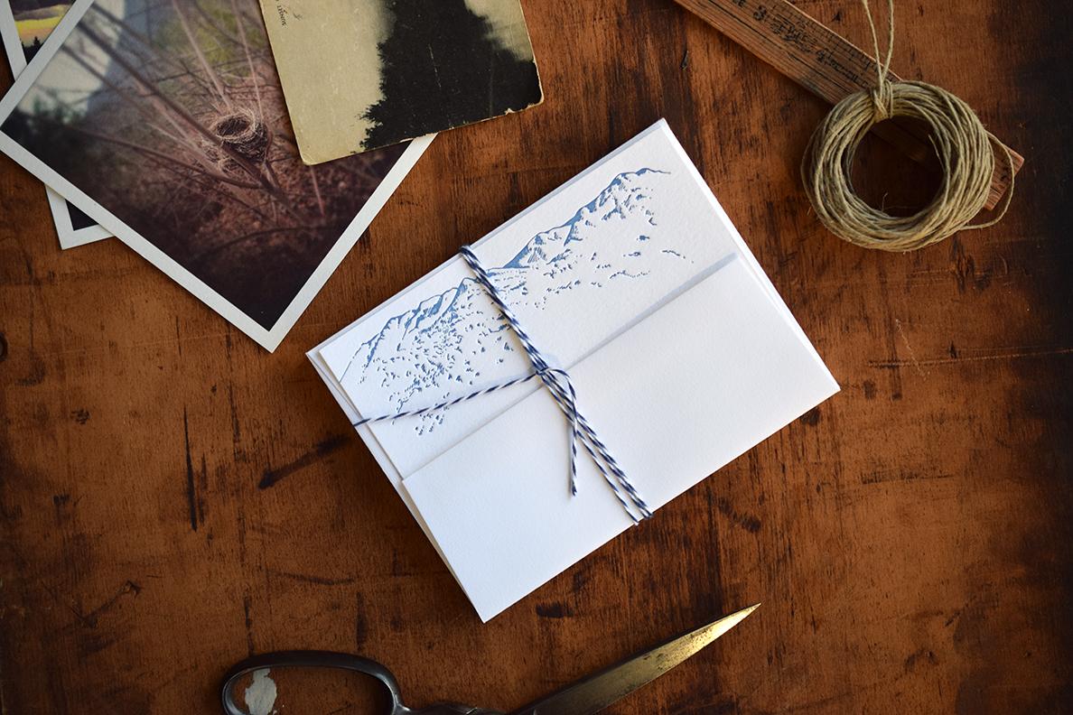 Mountain Stationery Sets :Letterpress Printed
