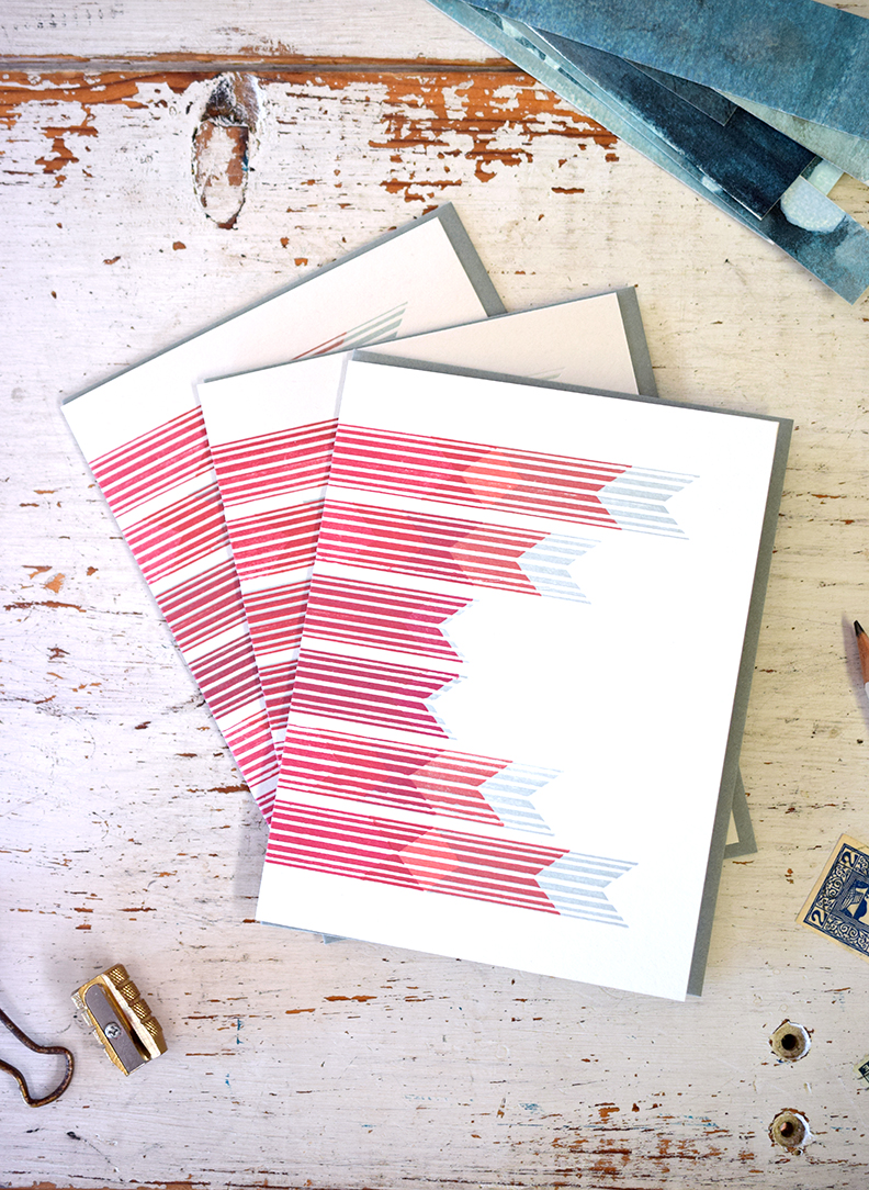 Abstract Banner Notecard: Letterpress Printed