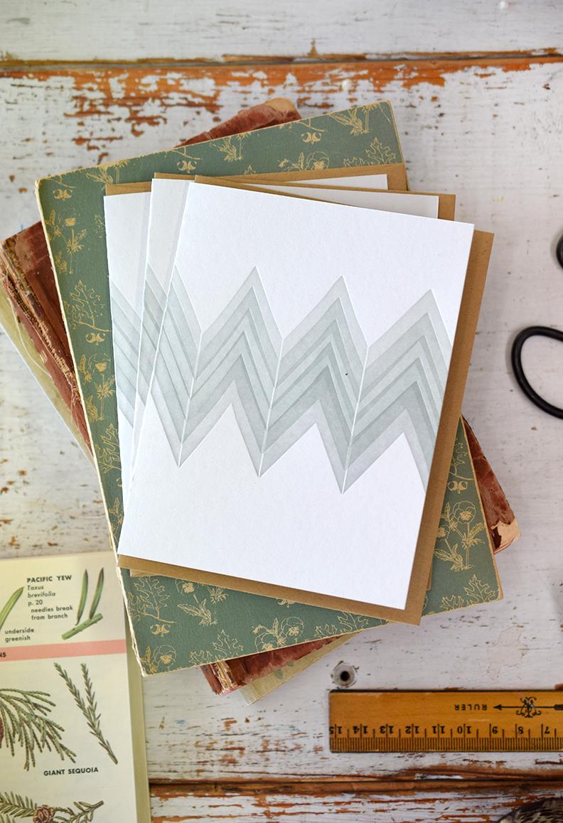 Green Chevron Notecard:Letterpress Printed
