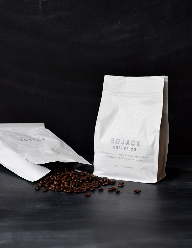 Bojack  logo and coffee packaging design. Designed at 7 Ton Co.
