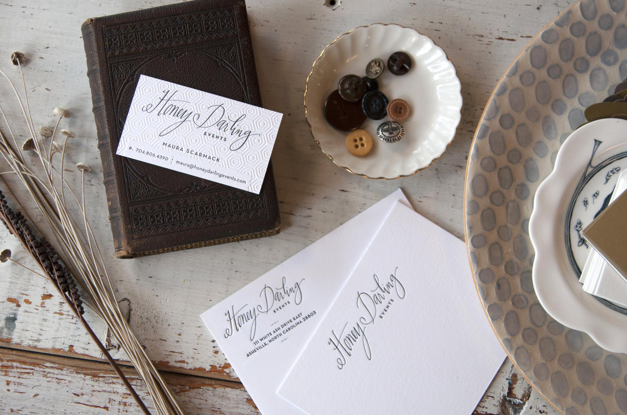 Custom calligraphy wordmark for  Honey Darling  branding.